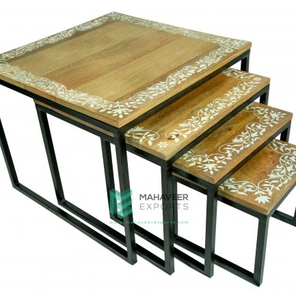 Industrial Painted Nested Table Set of 4