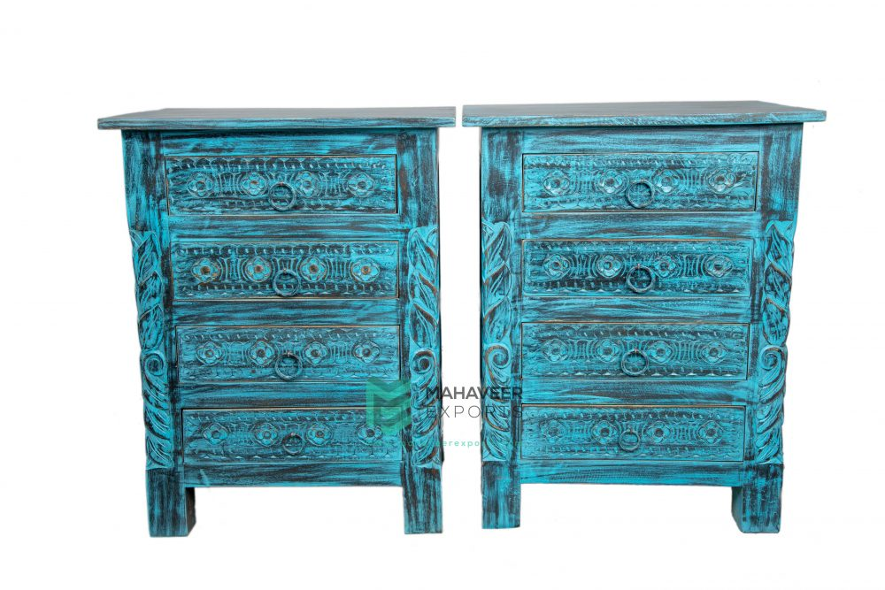 4 Drawers Carved Bedside Table