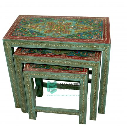 Fine Emboss Painted Nested Stool Set of 3