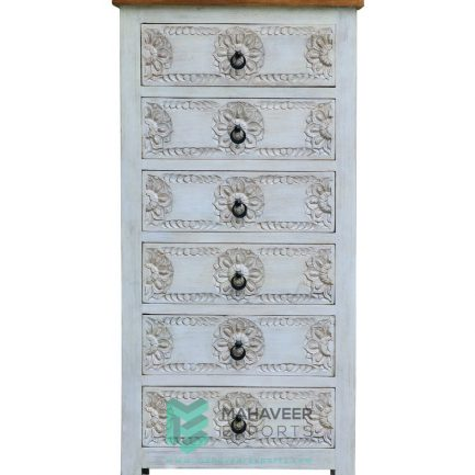 6 Drawers Carved White Distressed Tallboy Chest of Drawer