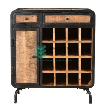 Industrial 2 Drawer 1 Door Rustic Wine Bar Sideboard