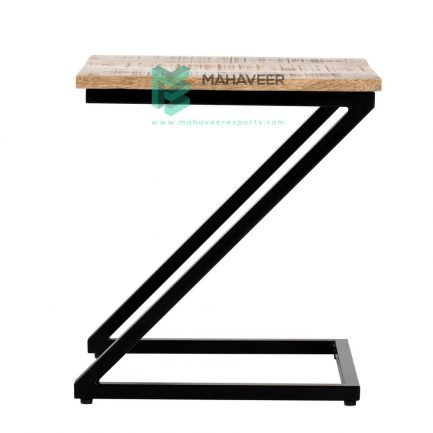 Mango Wood & Iron Z Shaped Industrial Side Table