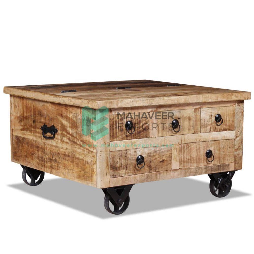 Industrial Rustic Square Coffee Table with Wheels