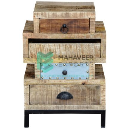 4 Drawer Rustic Chest of Drawers with Iron Stand