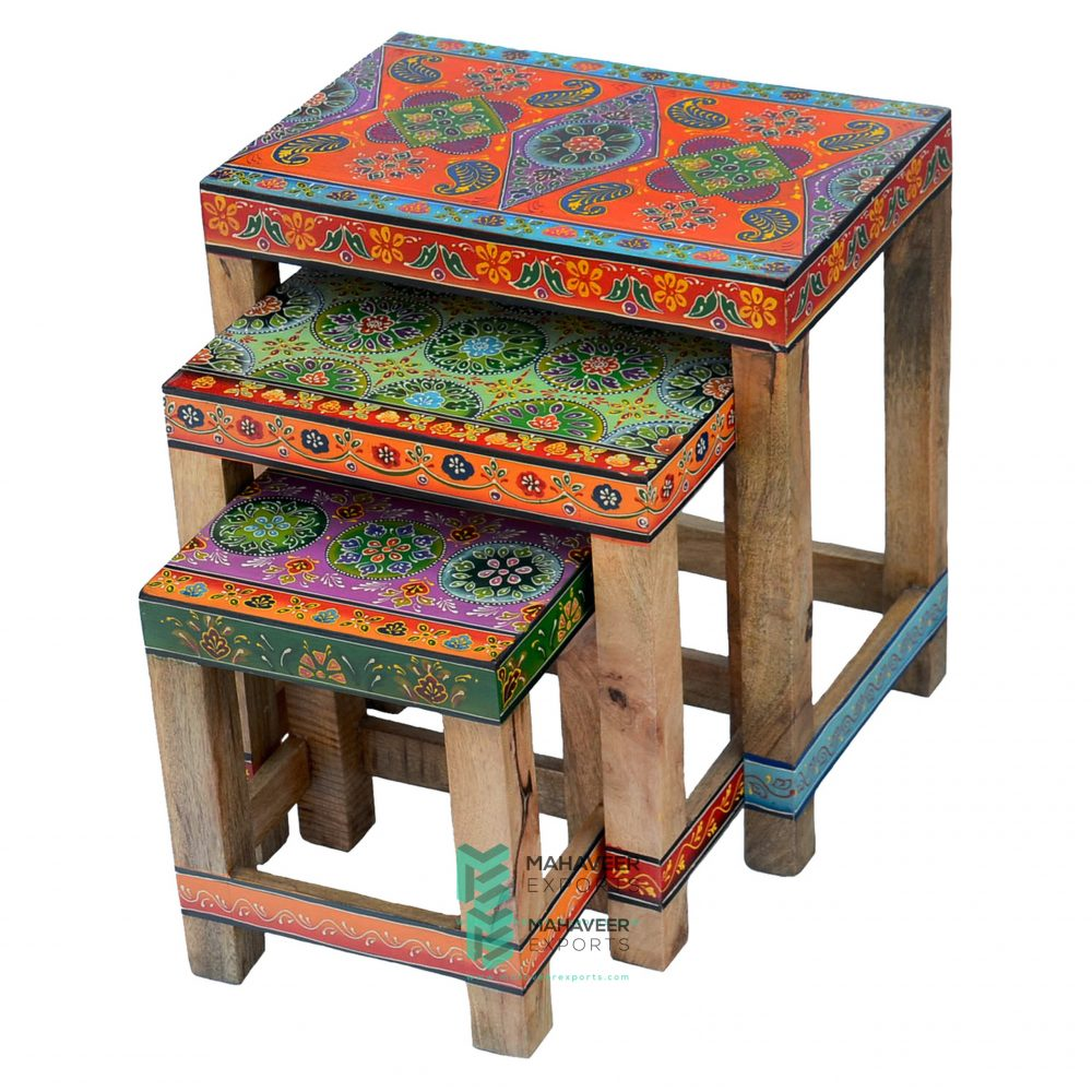 Painted Nest of Tables Set of 3