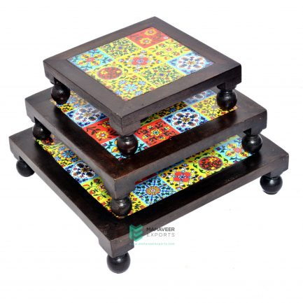 Wooden Tile Bajot Pooja Chowki Set of 3