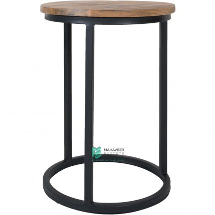 Mango Wood & Iron C Shaped Side Table