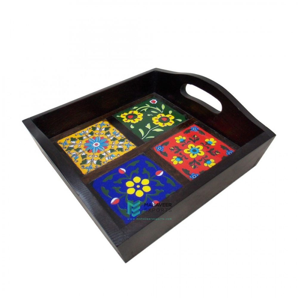 4-Tile Wooden Serving Tray