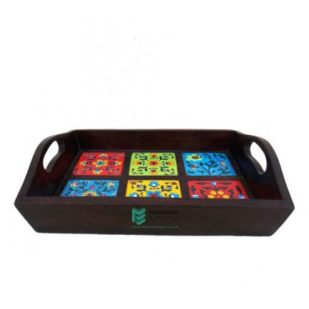 6-Tile Wooden Serving Tray