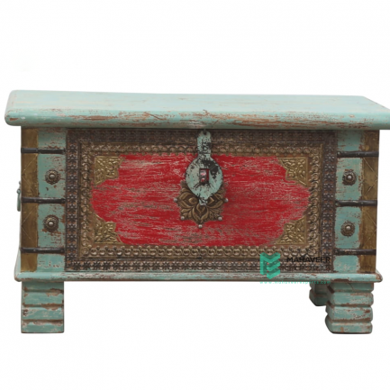 Brass Inlay Green Red Wooden Chest Box