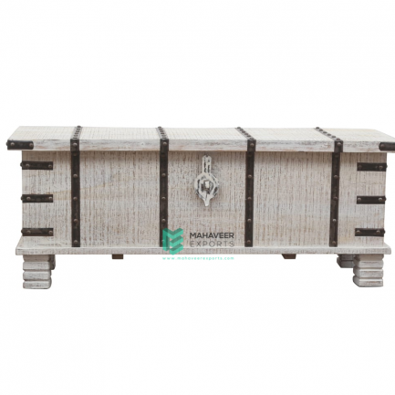 White Distressed Iron Fitted Wooden Chest Box