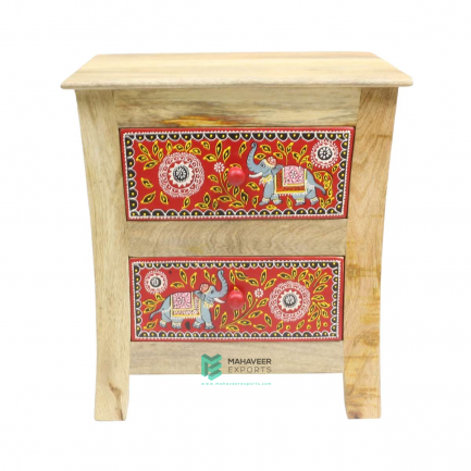 Elephants Painted 2 Drawer Side Table