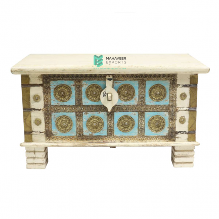 White and Blue Brass Inlay Wooden Chest Box