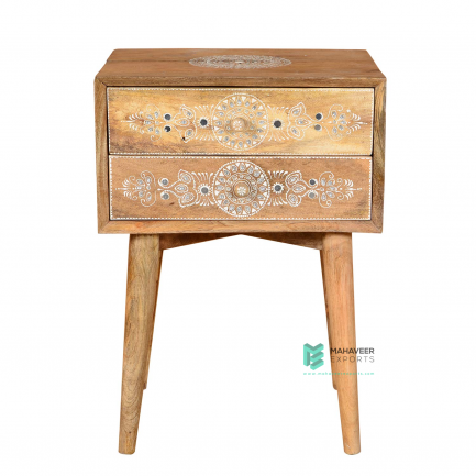 Emboss Painted Kundan Work 2 Drawer Side Table