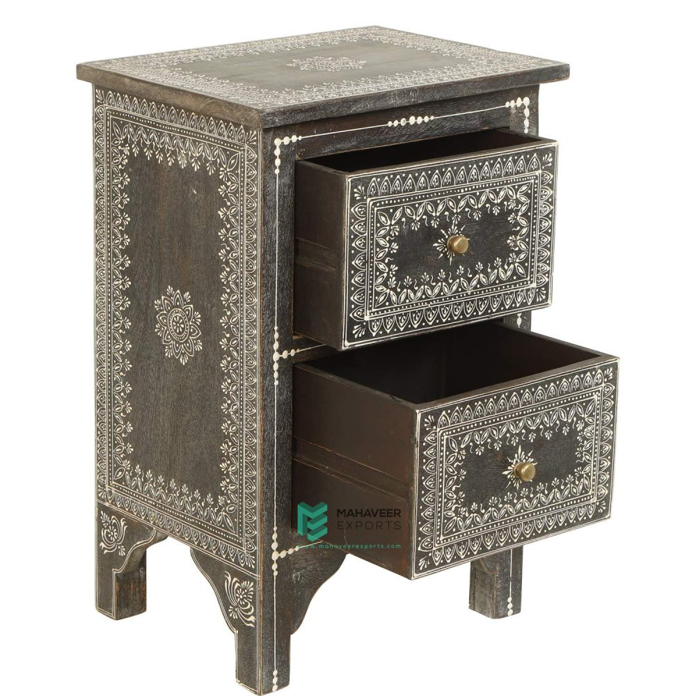 Emboss Painted Black 2 Drawer Side Table