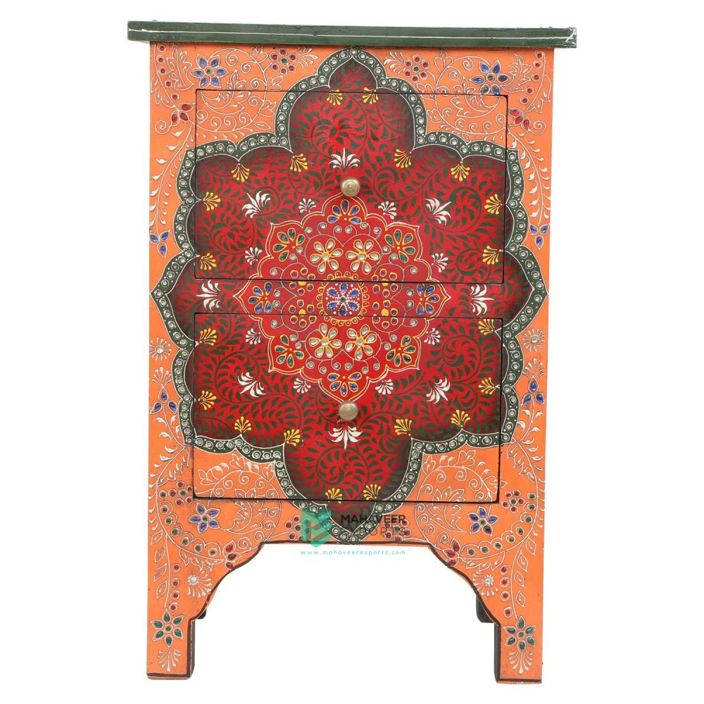 Colourful Emboss Painted 2 Drawer Side Table