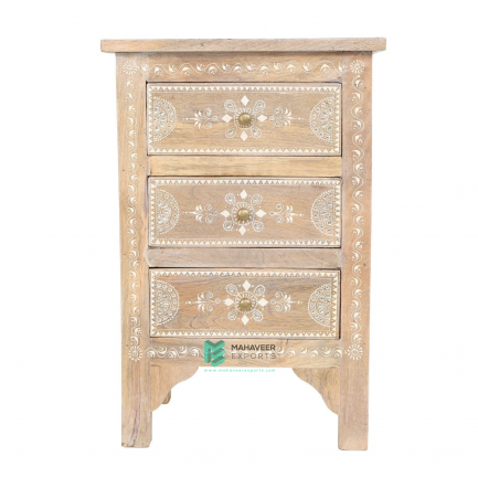 Emboss Painted 3 Drawer Side Table