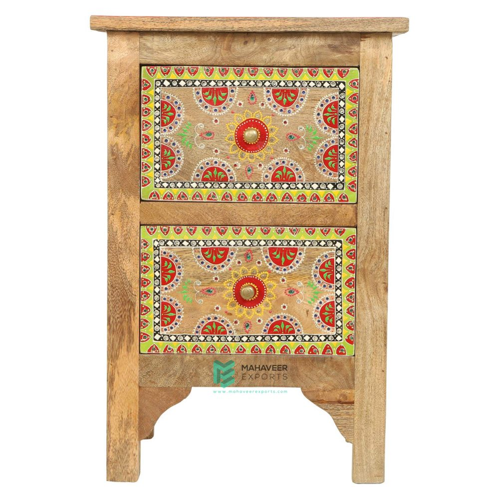 Emboss Painted 2 Drawer Side Table