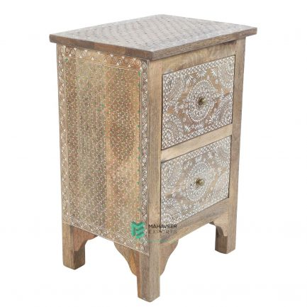 Fine Emboss Painted 2 Drawer Side Table