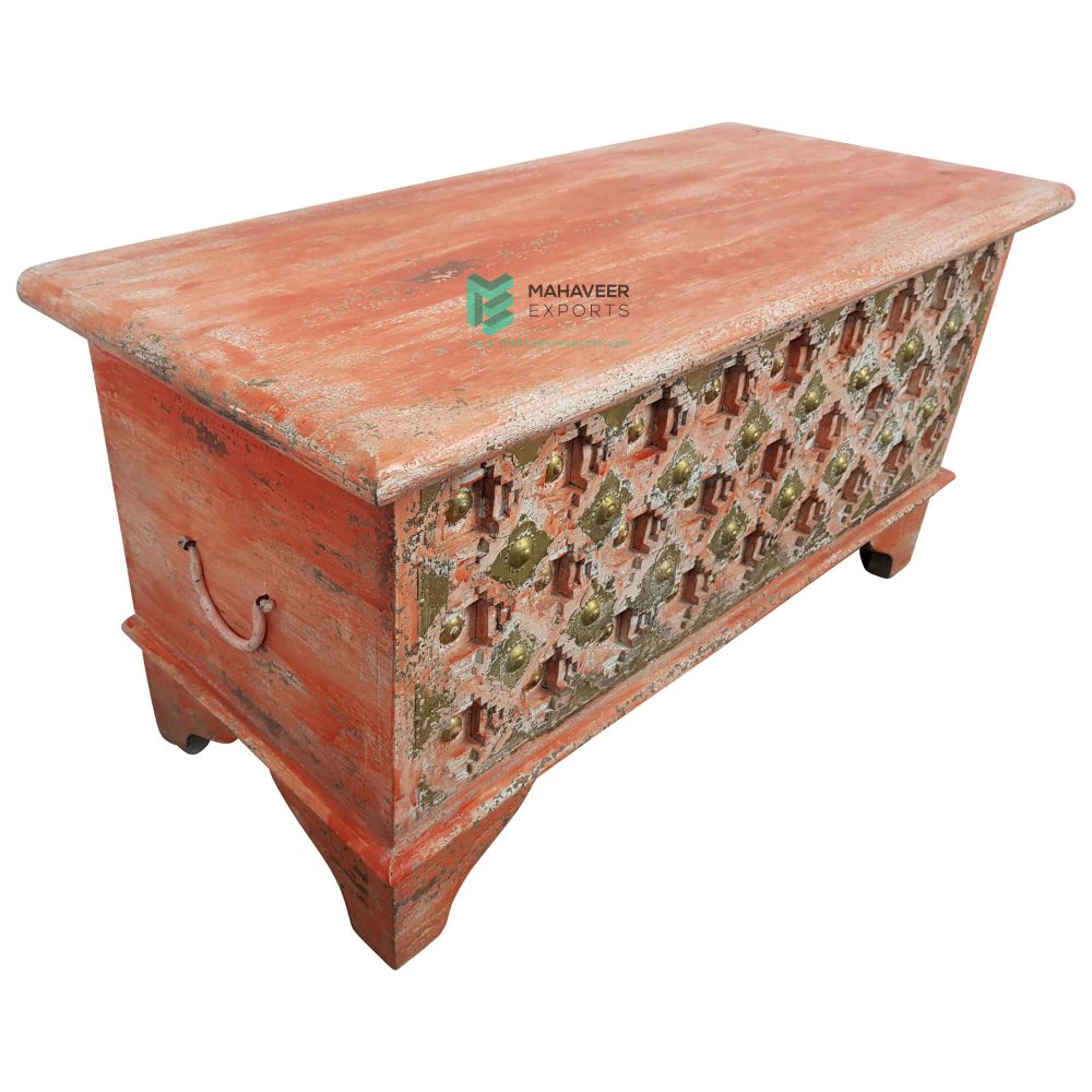 Red Distressed Bakhra Carved Wooden Chest Box