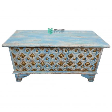 Blue Distressed Bakhra Carved Wooden Chest Box