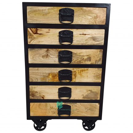 Industrial Chest of Drawers with Wheels
