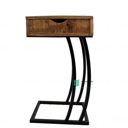 Mango Wood & Iron C Shape End Table