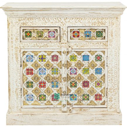 Bakhra Carved Tile & Brass Inlay 2 Drawer 2 Door Sideboard
