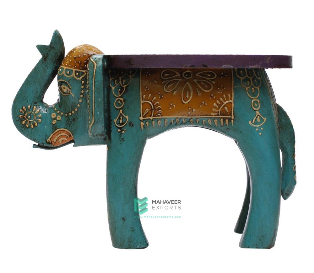 Emboss Painted Elephant Stool