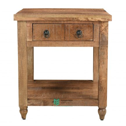 2 Drawer Rustic Side Table
