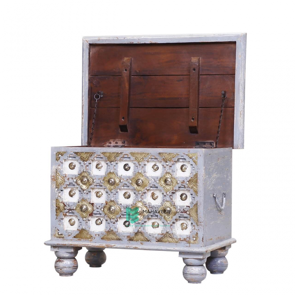Grey Distressed Bakhra Carved Wooden Chest Box