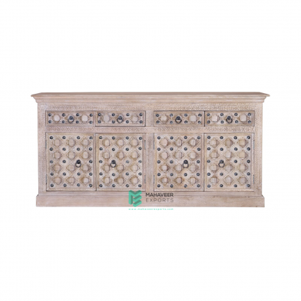 Bakhra Carved 4 Drawer 4 Door Sideboard
