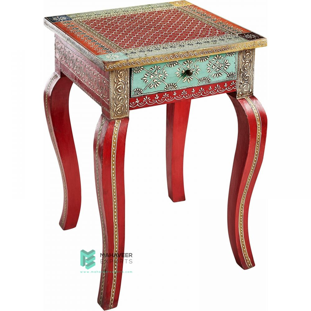 Fine Emboss Painted 1 Drawer Side Table