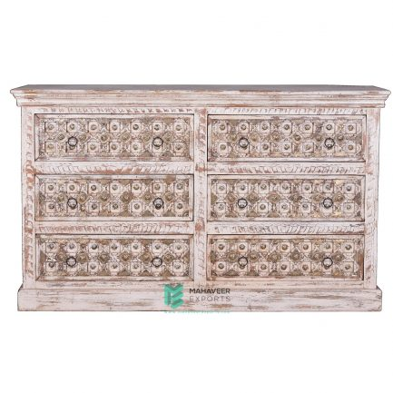 White Distressed Brass Inlay 6 Drawer Sideboard