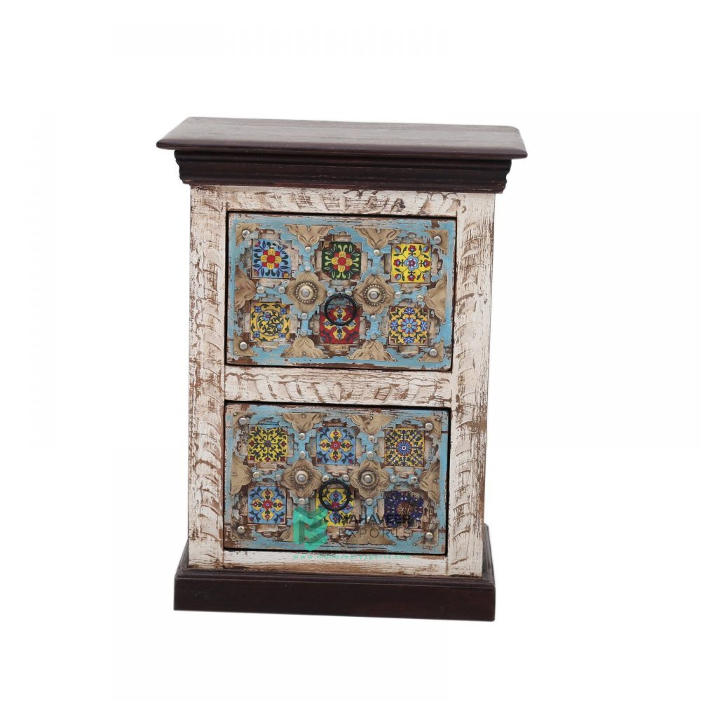 Tile and Brass Inlay 2 Drawer Bedside Table