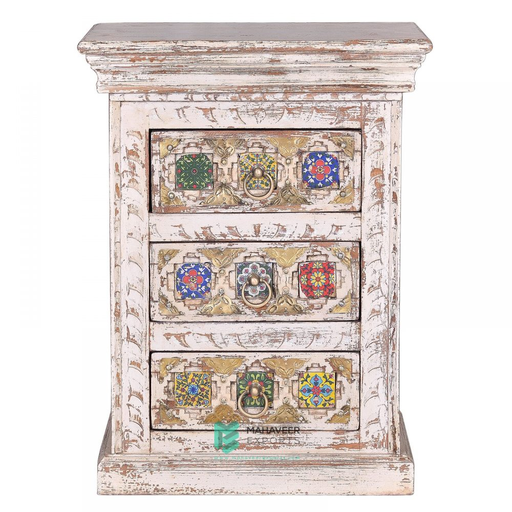 Tile and Brass Inlay 3 Drawer Bedside Table