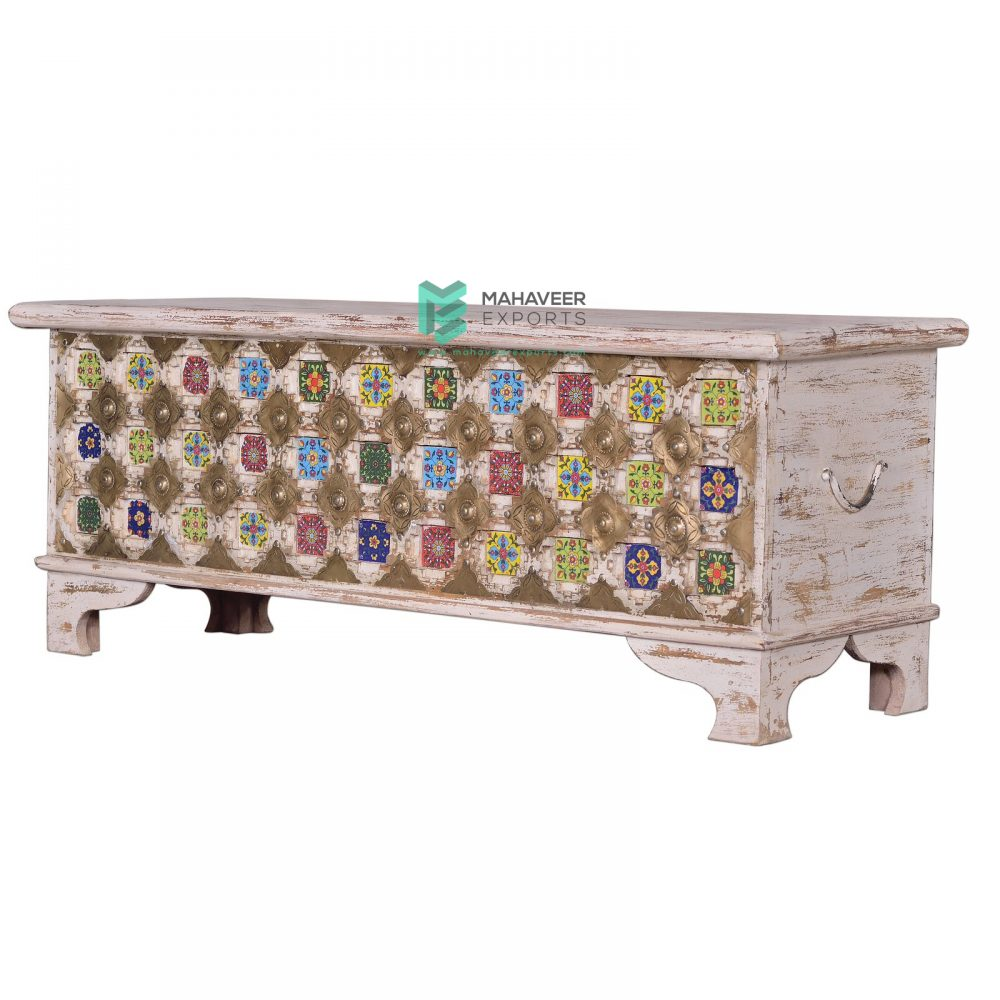 White Distressed Tile & Brass Inlay Wooden Chest Box