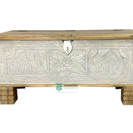 Grey Distressed Wooden Carved Chest Box
